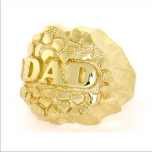 Solid 10K Gold Nugget Dad Ring Brand New All Sizes